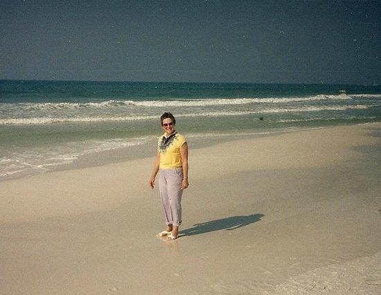 Moonlight Beach: Mom on the sand long time ago