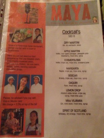 Maya cuisine & Lounge by Jeanette: Menu