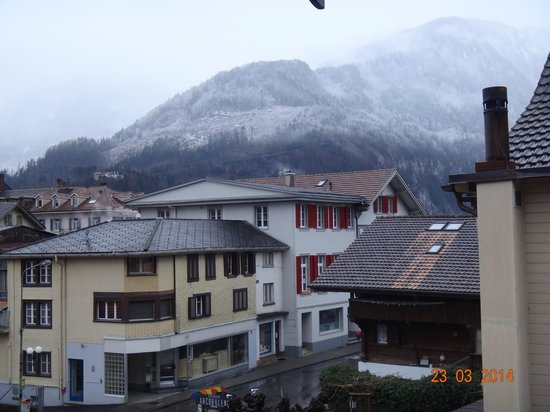 Hotel Rössli: view from our balcony with overnight snow