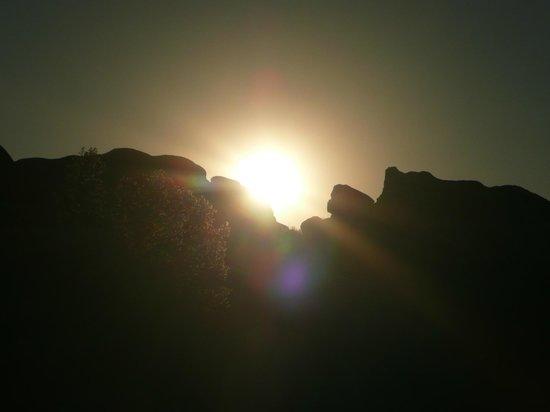 Jumbo Rocks Campground: Der Sonnenuntergang über den