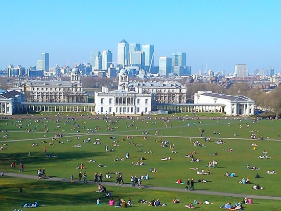 Old Royal Naval College: View of the College from the Observatory with Canary Wharf in the background