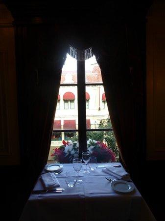 Walt's - an American Restaurant : Our table overlooking Main Street in Walt's Restaurant.