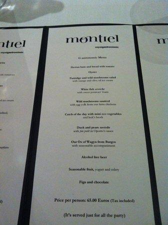 Restaurant Montiel: menu