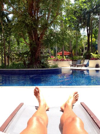 """Novotel Phuket Surin Beach Resort.: The view from my lounger outside my room! I called this my office at my """"other home"""""""