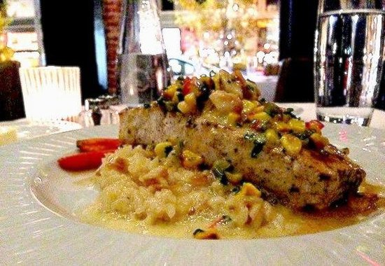 Crossings - Grilled Swordfish - charred sweet onion, grilled shrimp, roasted corn salsa by Execu