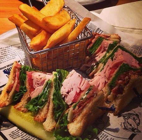 East Village Grille: Club Sandwich with Fries
