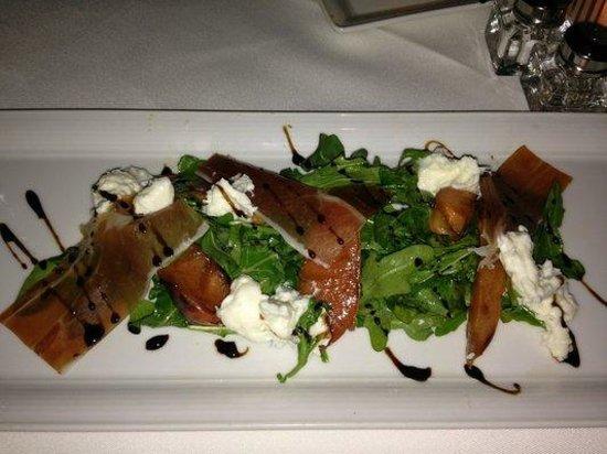 Crossings - Persimmon & Burrata - grilled peach, arugula, panetta, balsamic by Executive Chef La