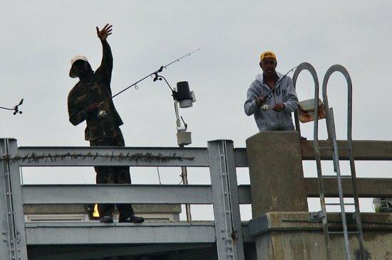 Dolphin Racer : random fishermen waving in friendly greeting