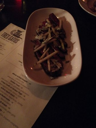 Tres Gatos : Skirt steak with pears and blue cheese (goes by a different name on menu). So tender, perfectly