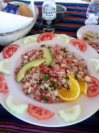 Rancho El Charro: Our yummy ceviche de camaron during our reststop