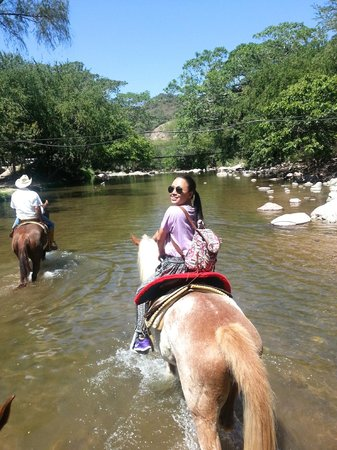 Rancho El Charro: Riding through one of the rivers