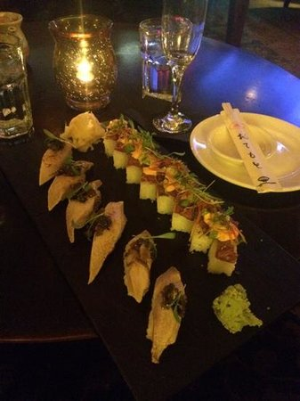 Latitude 43: sushi at Latitudes 43 - seared albacore and Kobe