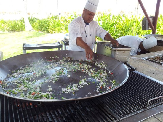 Iberostar Bavaro Suites: This gigantic pan was twice filled with hundreds of lobster tails, cooked to perfection.