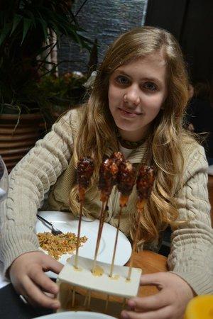 Restaurant Indochine Ly Leap: Chupa Chups de Langostinos y carne picada caramelizado