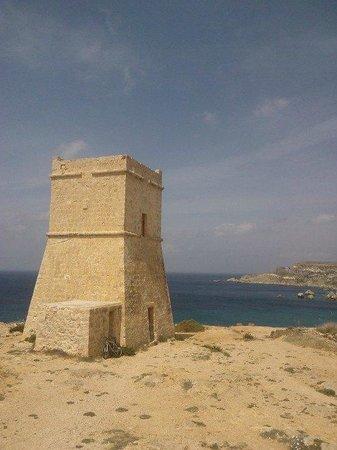 Golden Sands Beach: Għajn Tuffieħa Tower is open only at certain times