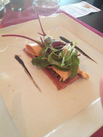 Auberge de Bardigues : Carpaccio d'aiguillettes de canard et copeaux de foie gras