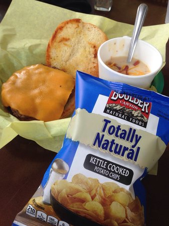 The Back Bowl Soup Company: Burger, baked potato soup, and chips.. The ...
