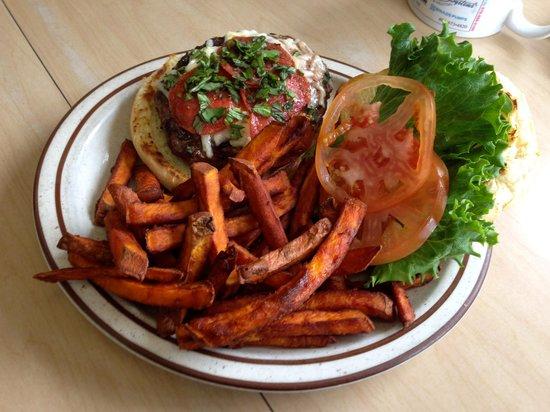 Union Street Grill: Pepperoni/Asiago/Basil Burger w/ Sweet Potato Fries