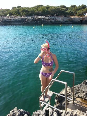 Cala Blanca Sun Hotel: Ladders all the way down the beach cove for swimming and snorkelling