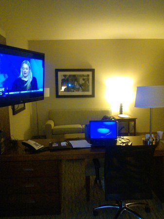 Hampton Inn & Suites Chapel Hill/Carrboro: Desk, flat screen, pull-out sofa