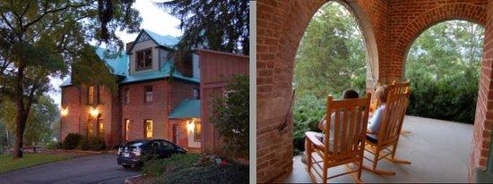 Prospect Hill Bed & Breakfast Inn : Side door at dusk; rockers on front porch