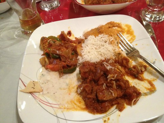 Maurya's Fine Indian Cuisine: Beef Boti Masala, coconut chicken curry and vegetables