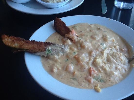 Boulevard Diner: Shrimp and grits with a fried pickle!