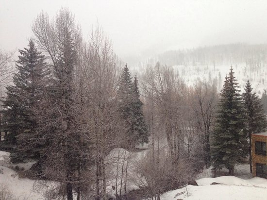 Sandstone Creek Club : View from balcony on snowy evening. Unit 2304 Sandstone Creek--Vail.