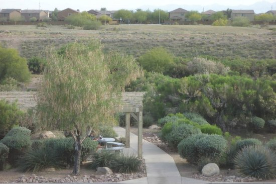 Extended Stay America - Phoenix - Peoria : South view: patio with power & light adjoining Skunk Creek Trail