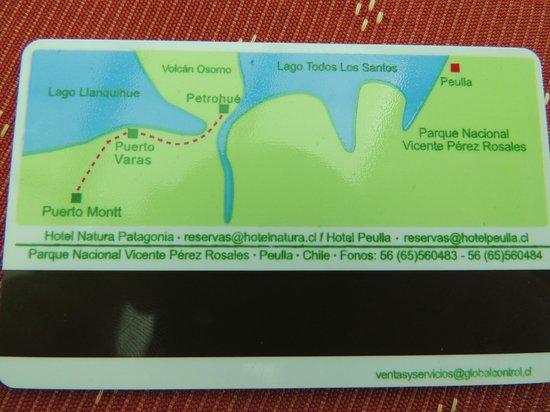 Hotel Natura Patagonia: Cartão de acesso à suíte, com mapa da região.