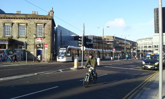 Tram stop from the airport to city directly across the for 7 clifton terrace edinburgh