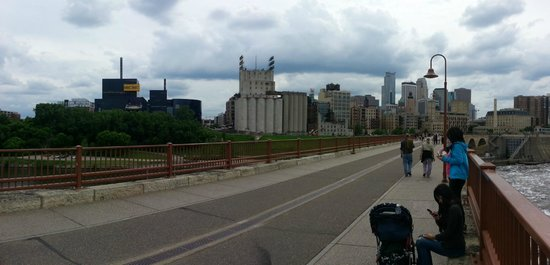"""Stone Arch Bridge: We go here so often that we never take pictures since it's always """"there"""", but here's the view!"""