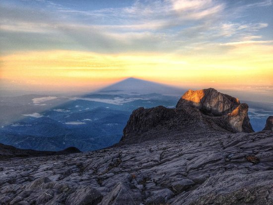 Mount Kinabalu : Shadow of the mountain at Sunrise