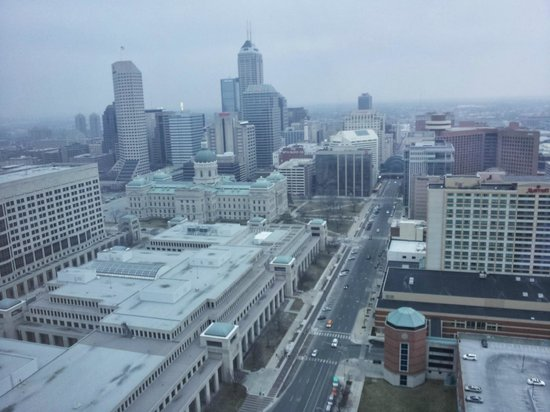 JW Marriott Indianapolis: view from window of 33rd floor room in late afternoon