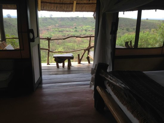 Kyambura Game Lodge: view out front door of room