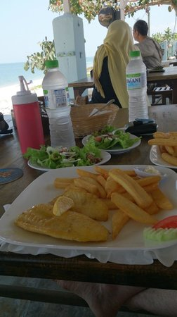 Scarborough Fish & Chips Restaurant: our lunch, pan fried dory fish