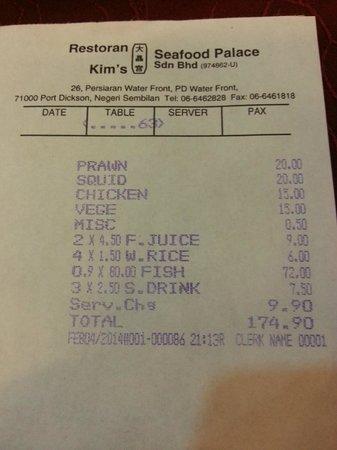 Kim's Seafood Palace: Total Bill