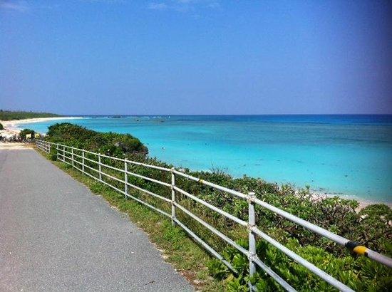 Nishihama Beach: ビーチヘと続く道