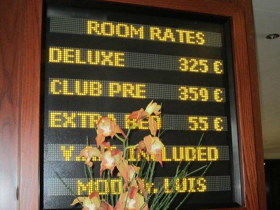 Eresin Hotels Topkapi: Precios que están en recepción