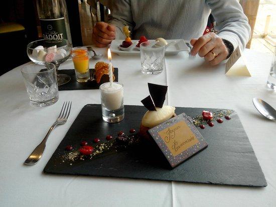 Auberge du Lac : Dessert d'anniversaire
