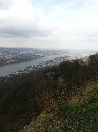 Drachenfels: Blick über den Rhein Richtung Bonn