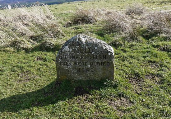 Culloden Battlefield: grave marker for the English dead although no-one interred here