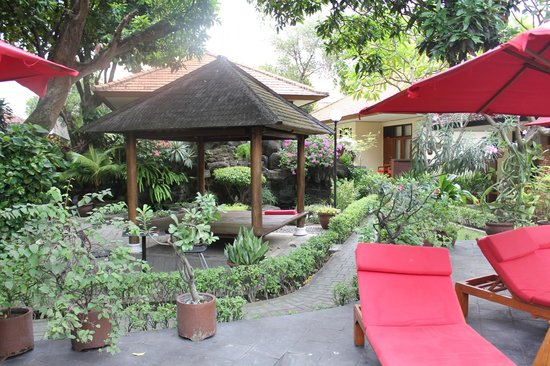 Yulia Beach Inn: Pool / garden area