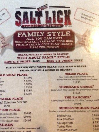 Salt Lick BBQ: A quick loom @ the menu...