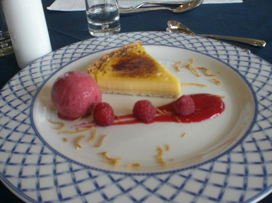 The Nare: Lemon tart with raspberry sorbet.