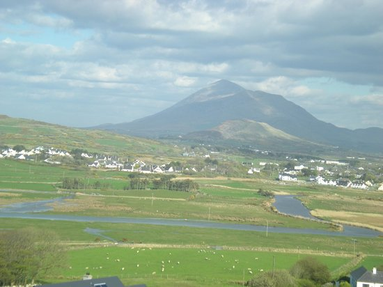 "Cuaneen House: A view of louisburgh town and ""Croagh Patrick"" from the top of Carramore Hill very close by."