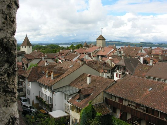 Medieval City Walls: View of Murten from the town's medieval wall