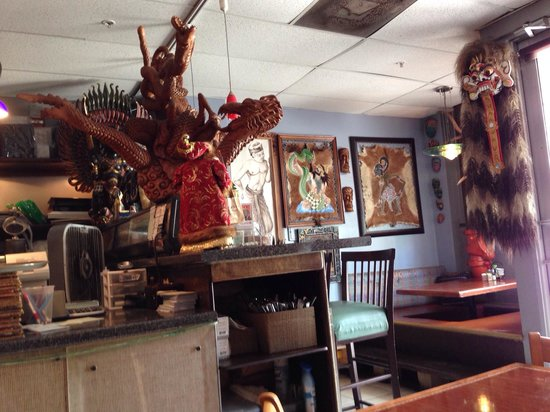 Bali Cafe Interior Showing Lots Of Goos From Indonesian Culture