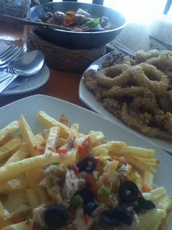 Calamares and cheese fries for merienda