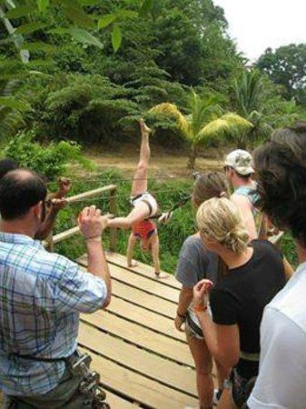 Jungle Top Zipline Adventure: Handstand off platform